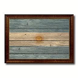 Argentina National Country Flag Texture Canvas Print, Frame Patriotic Souvenir Gift Ideas office Home Décor Wall Art Livingroom Vintage Decoration Interior Design, 15\