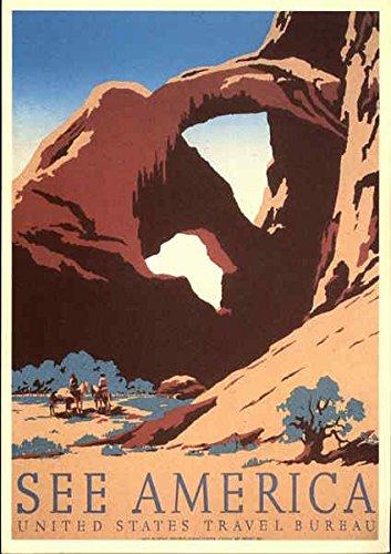See-America-United-States-Travel-Bureau-Poster-Style-Original-Vintage-Postcard
