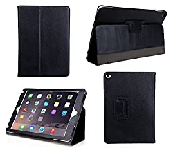 Bear Motion Case for iPad Air 2 - Genuine Leather Folio Case for iPad Air 2 Case Cover (2014 Version) - Black
