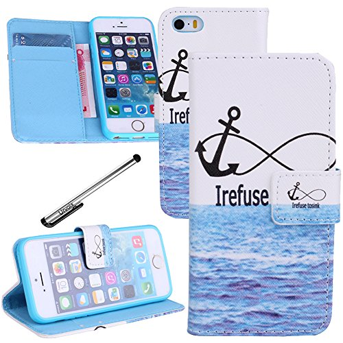 For iPhone 5 5S, Urvoix(TM) PU Leather Flip Wallet Anchor Sea Case Cover w/ Magnetic Closure, Card Slots, Cash Holder for iPhone 5 5S