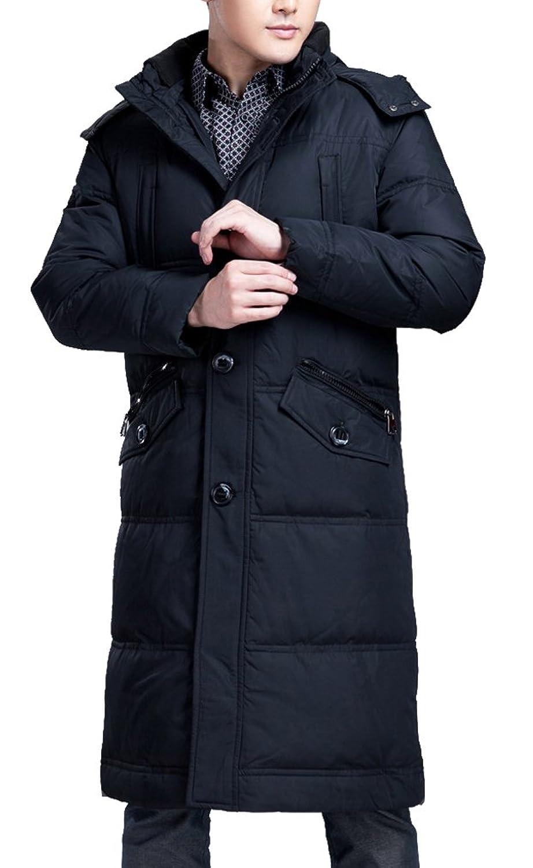 BININBOX® Herren Parka Jacke Daunenmantel Daunenjacke mit Kapuze Warmen Wintermantel Knielang