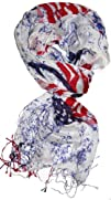 LibbySue-Red White   Blue American Flag Peace Sign Scarf