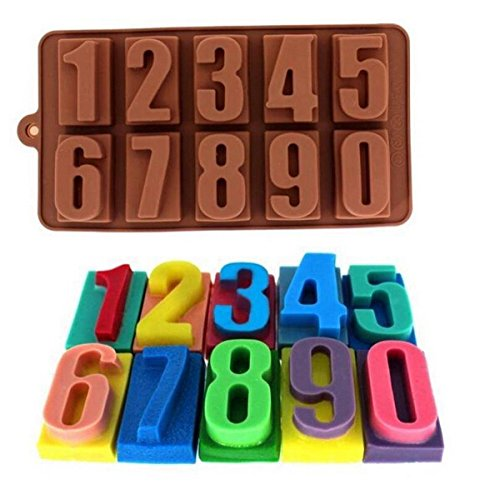 Allforhome(TM) Silicone Number Ice Tray, Silicone Cake Baking Mold Cake Pan Muffin Cups Handmade Soap Moulds Biscuit Chocolate Ice Cube Tray DIY Mold (Cake Pan Number 4 compare prices)