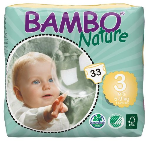 Abena Bambo Nature Premium Baby Diapers, Midi, Size 3, 33 Count (Pack Of 6)