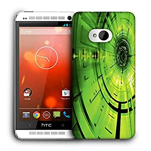 Snoogg Green Abstract Pattern Designer Protective Back Case Cover For HTC ONE M7