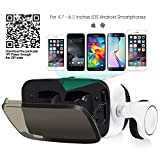 Virtual Reality Headset with Trigger/ Headphone/Remote Controller and Hard Travel Storage Bag Fit for iPhone Android and Microsoft Smartphone