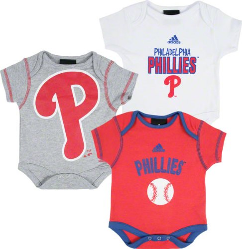 MLB Newborn Philadelphia Phillies 3 Piece Bodysuit Set (Multi, 6-9mos) at Amazon.com