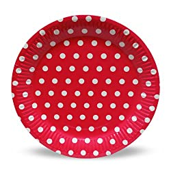 PrettyurParty Polka Dots Paper Plates (Pack of 10) - Dark Pink
