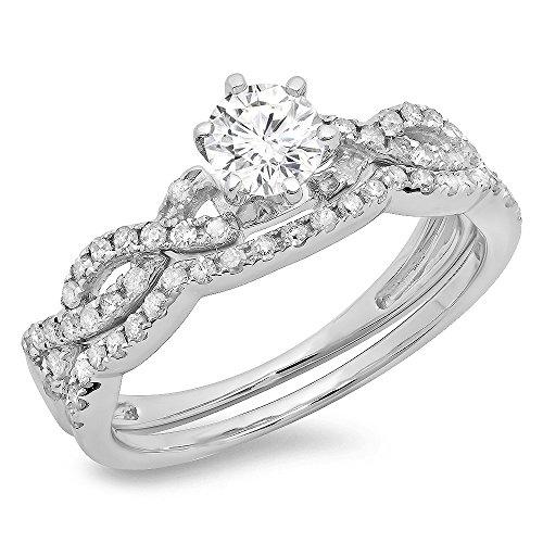 0.90 Carat (Ctw) 14K White Gold Round Cut Diamond Bridal Twisted Swirl Engagement Ring Set (Size 5.5)