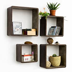 trista saddle brown square leather wall shelf bookshelf floating shelf set. Black Bedroom Furniture Sets. Home Design Ideas
