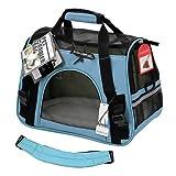 OxGord正規品 ペットキャリーバッグ 犬&猫両用 フリースベッド 航空会社認可 (Medium, Mineral Blue)
