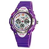 WISE® 2001ad New Arrival PAS Kids Teenage Girls Dual Time Colorful Dial Waterproof 100m Sports Casual Wrist Watches with Bling Bling Moon Star Pattern Purple