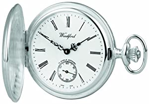 Woodford Swiss-Made Mechanical Full-Hunter Pocket Watch, 1064, Men's Sterling Silver Separate Second-Hand Dial with Albert (Suitable for Engraving)