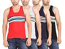 Zippy Men's ANDROID Sleeveless Multi color Vest (Pack of 4)