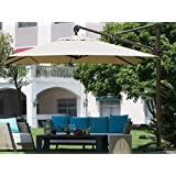 Abba Patio 10 ft Deluxe Square Offset Cantilever Patio Umbrella , Outdoor Hanging Canopy with Vertical Tilt and Cross Base, Tan