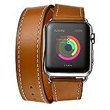 Apple Watch Bracelet, EloBeth Smart Watch Band en cuir véritable Double Tour Replacement Band pour Tous les Modèles d