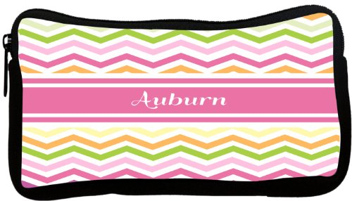 "Rikki KnightTM ""Auburn"" Pink Chevron Name Neoprene Pencil Case at Amazon.com"