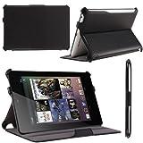 i-Blason Auto Sleep / Wake Google Nexus 7 Inch Tablet PC Slim folio Case With Built in Stand Hard Back Cover 8GB 16GB (Black) ~ i-Blason