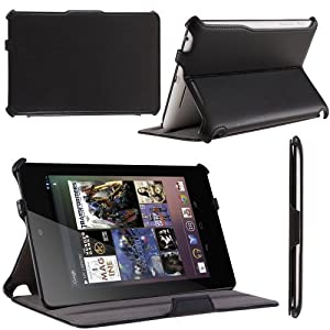 i-Blason Auto Sleep / Wake Google Nexus 7 Inch Tablet PC Slim folio Case With Built in Stand Hard Back Cover 8GB 16GB (Black)
