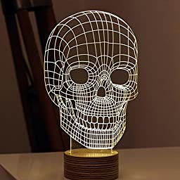 WOMHOPE® LED Art Sculpture Lights Up Night Lights Desk Lamp - 3D Visualization - Unique Lighting Effects Amazing Optical Illusion Home Decor Lamp for Kids,Valentines Gift,Lovers (Skull)