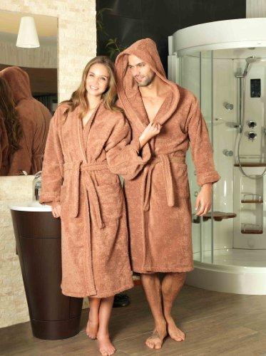 Frottee Kaputzen Bademantel Damen Herren Farbe Camel Größe S