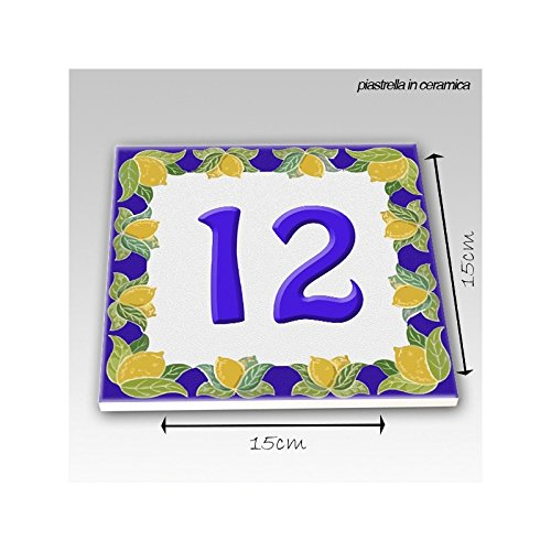 Mattonella 15x15 cm Piastrella Numero Civico Blu con Limoni Personalizzato
