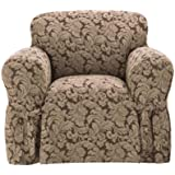 Sure Fit Scroll 1-Piece Chair Slipcover, Brown
