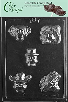 Cybrtrayd H165 Day of The Dead Chocolate Candy Mold with Exclusive Cybrtrayd Copyrighted Chocolate Molding Instructions