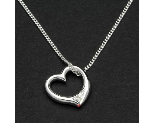 Sterling Silver Heart Necklace with Crystal
