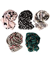 BMC Stylish 5pc Lightweight Summer Scarf Printed Collection- Various Designs