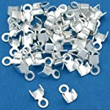 Wadoy Silver Plated 7mm Foldover Cord Ends For Leather 50