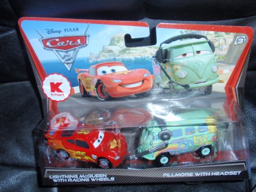 Disney / Pixar Cars 2 Movie Exclusive 155 Die Cast Car 2Pack Lightning Mcqueen With Racing Wheels Fillmore With Headset
