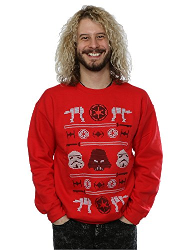 Star Wars Uomo Christmas Imperial Fair Isle Felpa XX-Large Rosso