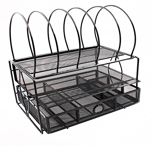 Easypag Mesh Desk File Organizer Tray With 5 Sorter Drawer