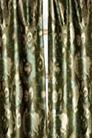 Ikkat green faux silk lined curtain panel