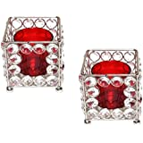 Unique Arts Square Shaped With Glass Tea Light Candle Diya Holder - Set Of 2