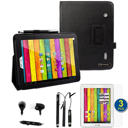 BIRUGEAR SlimBook Leather Folio Stand Case Cover with 3pcs Screen Protector, 3pcs stylus, Headset for Archos 80 Titanium 8-Inch Android Internet Tablet