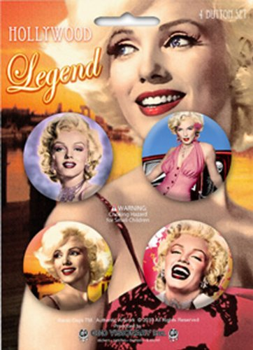 "Licenses Products Marilyn Monroe Assorted Artworks 1.5"" Button Set, 4-Piece"