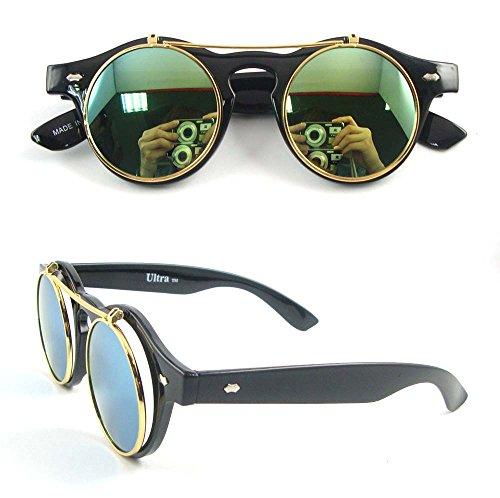 Ultra® Matte nero cornice verde lenti Flip up premium di cerchio Steampunk alta qualità occhiali occhiali retrò Round Cyber UV400 UVA UVB alta qualità occhiali da sole e in microfibra custodia