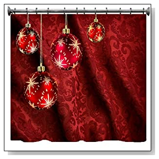 Red Christmas Balls & Curtain Shower Curtain