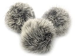Rabbit Fur POM POM Balls 3 Pack Cat Toy Pure Gray and White No Dye Lots of Fun for Cats and Kittens PK Pet Products