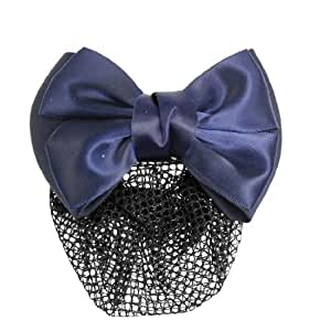 Bowknot Decoration French Hairclip Blue Net Hair Snood Barrette for Ladies