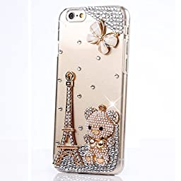 iPod Touch (6th Generation) Case, STENES Luxurious Crystal 3D Handmade Sparkle Diamond Rhinestone Clear Cover with Retro Bowknot Anti Dust Plug - Butterfly Eiffel Tower Bear / Clear