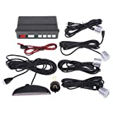 Andoer Car LED Parking Reverse Backup Radar System with Backlight Display + 4 Sensors (White/Blue/Grey/Red/Silver/Black Optional) (Silver)