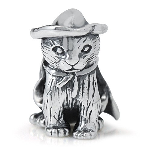 BEST SELLING Multiple Styles You Choose Sterling Charms Beads Pendents Beads On Sale (Fits Pandora, Troll, Baigi, Chamilia, Zable, & Similar Bracelets Necklaces) (Halloween Kitty Cat Kitten)