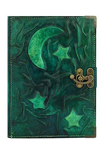 luna-e-le-stelle-verde-annata-diario-in-pelle-fatto-a-mano-leather-taccuino-sketchbook-notepad-diari