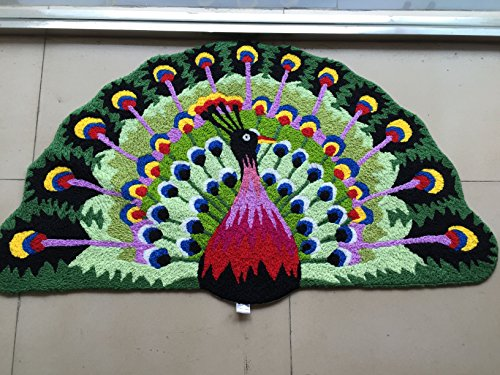 MAXYOYO Peacock Area Rugs Hand-embroidered Floor Mats Personalized Custom Carpets Peacock Imprint Anti-slip Mat Pastoral style carpet