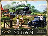 The Golden Age of Steam. V2 2-6-2 Sir Nigel Gressley. Train crossing bridge. Trainspotter Father with Kids and car. Train. Vintage painting LNER. For house, home, man cave, garage, pub. Large Metal/Steel Wall Sign