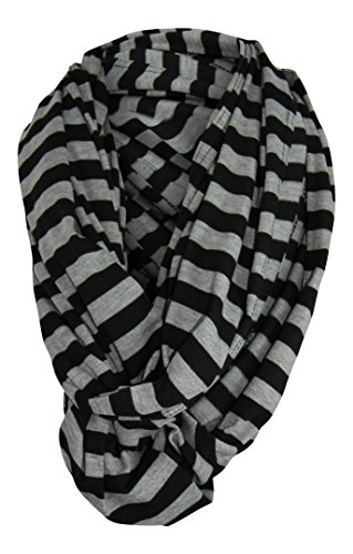 Nursing Cover Infinity Scarf - Black / Gray Stripe Pattern - Nursing Privacy - Breastfeeding - Less Distractions During Feeding - For Expectant Mothers - Unisex - Tykes & Tails