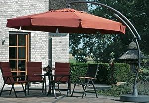 sun garden ampelschirm 350 cm anthrazit beige mit lampe und cape. Black Bedroom Furniture Sets. Home Design Ideas
